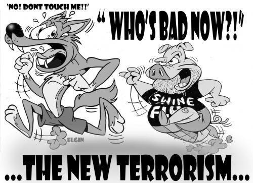 swine flu wolf and pig cartoon