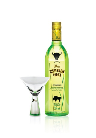 bison grass vodka with martini glass
