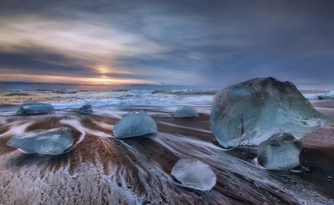 Jokulsarlon Glacier Lagoon: Ice and Black Sand